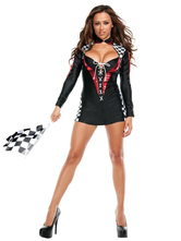 Anime Costumes AF-S2-659631 Sexy Race Car Driver Costume Halloween Women's Black Bodycon Mini Dress