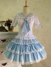 Lolitashow Sweet Lolita Outfit Sailor 2 Piece Set Light Blue Cotton Skirt With Shirt