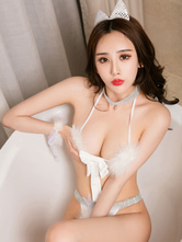 Anime Costumes AF-S2-659705 Halloween Sexy Costume Catwomen White Faux Fur Bra Set Costume Outfit