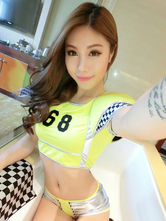 Anime Costumes AF-S2-659659 Sexy Race Car Driver Costume Halloween Women's Yellow Checker Shorts Outfit