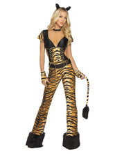 Anime Costumes AF-S2-659829 Sexy Tiger Costume Halloween Women's Brown Animal Trainer Jumpsuit