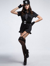 Anime Costumes AF-S2-660289 Halloween Sexy Cop Costume Police Women Black Dress In 5 Piece Set