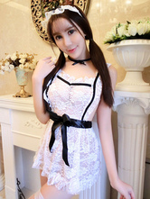 Anime Costumes AF-S2-659939 White Lace Sexy Maid Costume Sheer Cute Maid Costume For Women