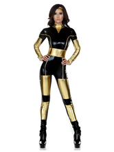 Anime Costumes AF-S2-660109 Halloween Sexy Costume Superwomen Black Contrast Color Long Sleeve Skinny Leg Jumpsuit