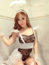 Anime Costumes AF-S2-660175 Sexy Angel Costume Halloween Black Lace Semi-Sheer Outfits In 5 Piece
