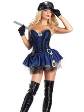 Anime Costumes AF-S2-660275 Sexy Cop Costume Halloween Police Women Costume Deep Blue Mini Dress With Handcuffs And Hat And Spontoon