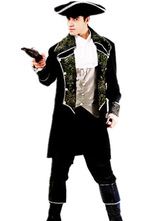 Anime Costumes AF-S2-659873 Halloween Pirate Costume Men's Black Silver Captain Costume Outfit