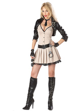 Anime Costumes AF-S2-660287 Sexy Cop Costume Halloween Khaki Police Women Costume In 5 Piece Set