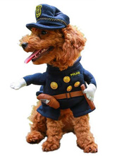 Anime Costumes AF-S2-659987 Halloween Cop Pet Costume Deep Blue Dogs' Jumpsuit With Hat