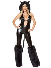 Anime Costumes AF-S2-660267 Sexy Catwoman Costume Halloween Black Faux Fur Jumpsuit Animal Costume
