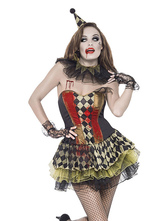 Anime Costumes AF-S2-660193 Carnival Circus Clown Costume Strapless Plaid Mini Dress Cosplay Costume For Women