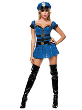 Anime Costumes AF-S2-660103 Sexy Cop Costume Blue Sequin Sweetheart Mini Dress Halloween Police Women Costume Outfit