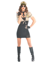 Anime Costumes AF-S2-660291 Sexy Cop Costume Halloween Khaki Police Women Costume