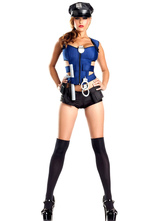 Anime Costumes AF-S2-660283 Sexy Cop Costume Blue Cut Out Top With Shorts Halloween Police Women Costume