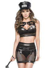 Anime Costumes AF-S2-660161 Sexy Cop Costume Halloween Black PU Police Woman Costume