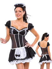 Anime Costumes AF-S2-660123 Sexy French Maid Costume Halloween Black Semi-Sheer Maid Costume In 2 Piece