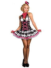 Anime Costumes AF-S2-660207 Sexy Clown Costume Carnival Adult Costume Rose Red Cirque Clown Jester Fancy Dress