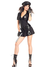 Anime Costumes AF-S2-660295 Halloween Sexy Cop Costume Black Mini Dress With Hat Police Women Costume