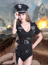 Anime Costumes AF-S2-660257 Sexy Cop Costume Halloween Black Police Woman Costume With Sash