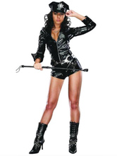 Anime Costumes AF-S2-660279 Sexy Cop Costume Halloween Black Jumpsuit Police Women Costume