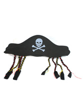 Anime Costumes AF-S2-659993 Halloween Pirate Hat Black Printed Pirate Hat For Men With Fringe