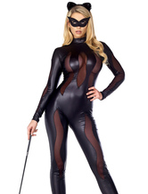 Anime Costumes AF-S2-660089 Sexy Catwomen Costume Halloween Women's Black Semi Sheer Long Jumpsuit