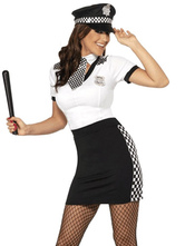 Anime Costumes AF-S2-660101 Sexy Cop Costume Halloween Police Women White Top Black Skirt Costume Outfit