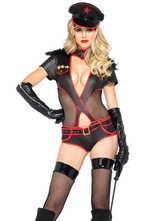 Anime Costumes AF-S2-660251 Sexy Cop Costume Halloween Black Cut Out Police Woman Costume In 3 Piece
