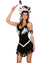 Anime Costumes AF-S2-660111 Sexy Native American Costume Black Sleeveless Feather Detail Fantasy Costumes
