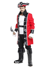 Anime Costumes AF-S2-659875 Halloween Pirate Costume Men's Red Captain Costume Outfit