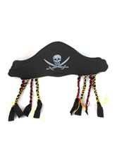 Anime Costumes AF-S2-659991 Halloween Black Printed Pirate Hat For Men With Fringe