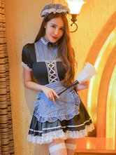 Anime Costumes AF-S2-659907 French Maid Costume Lace Trim Plaid Patchwork Sexy Maid Costume