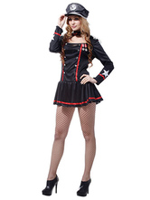 Anime Costumes AF-S2-660253 Sexy Cop Costume Black Long Sleeve Dress With Cravat And Hat Halloween Police Women Costume
