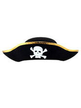Anime Costumes AF-S2-659867 Pirate Costume Accessories Hat Halloween Black Gold Skull Printed Men's Cap