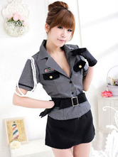 Anime Costumes AF-S2-660255 Sexy Cop Costume Women's Grey Outfits Halloween Police Woman Costume