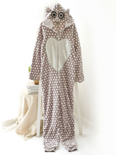 Anime Costumes AF-S2-660363 Kigurumi Pajamas Cat Onesie Brown Polka Dot Polar Fleece Long Sleeve Sleepwear For Adults