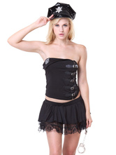 Anime Costumes AF-S2-660413 Sexy Cop Costume Halloween Black Top And Skirt Police Women Costume In 4 Piece Set