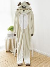 Anime Costumes AF-S2-660355 Kigurumi Pajamas Dog Onesie Ecru White Polar Fleece Long Sleeve Sleepwear For Adults