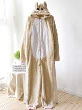 Anime Costumes AF-S2-660351 Kigurumi Pajamas Fox Onesie Apricot Flannel Long Sleeve Sleepwear For Adults