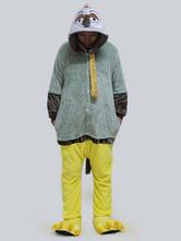 Anime Costumes AF-S2-660347 Kigurumi Pajamas Sloth Onesie Green Flannel Long Sleeve Sleepwear For Adults