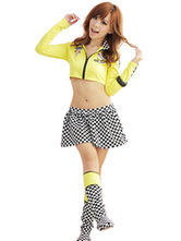Anime Costumes AF-S2-660309 Sexy Race Car Driver Costume Halloween Women's Yellow Checker Skirt With Crop Top With Boot Covers