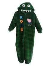Anime Costumes AF-S2-660369 Kigurumi Pajamas Dinosaur Onesie Green Flannel Sleepwear Costume For Kids