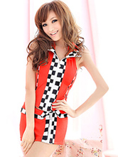 Anime Costumes AF-S2-660323 Sexy Race Car Driver Costume Halloween Red Checker Top With Skirt And Panties