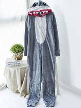 Anime Costumes AF-S2-660361 Kigurumi Pajamas Shark Onesie Grey Polar Fleece Long Sleeve Sleepwear For Adults