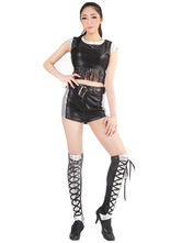 Anime Costumes AF-S2-660317 Sexy Race Car Driver Costume Black Sleeveless Crop Top With Shorts