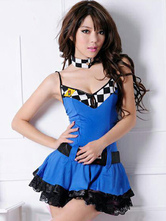 Anime Costumes AF-S2-660307 Sexy Race Car Driver Costume Halloween Blue Checker Dress With Choker