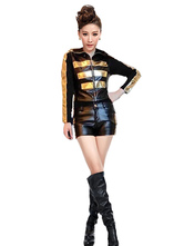 Anime Costumes AF-S2-660319 Sexy Race Car Driver Costume Halloween Gold Top With Shorts