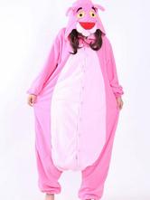 Anime Costumes AF-S2-660349 Kigurumi Pajamas Leopard Onesie Pink Polar Fleece Long Sleeve Sleepwear For Adults