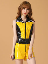 Anime Costumes AF-S2-660327 Sexy Race Car Driver Costume Halloween Yellow Short Sleeve Checker Top With Shorts