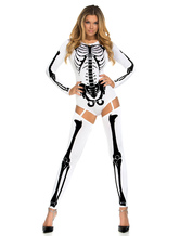 Anime Costumes AF-S2-660421 Halloween Sugar Skull Costume White Skeleton Jumpsuit Costume With Knee High Socks